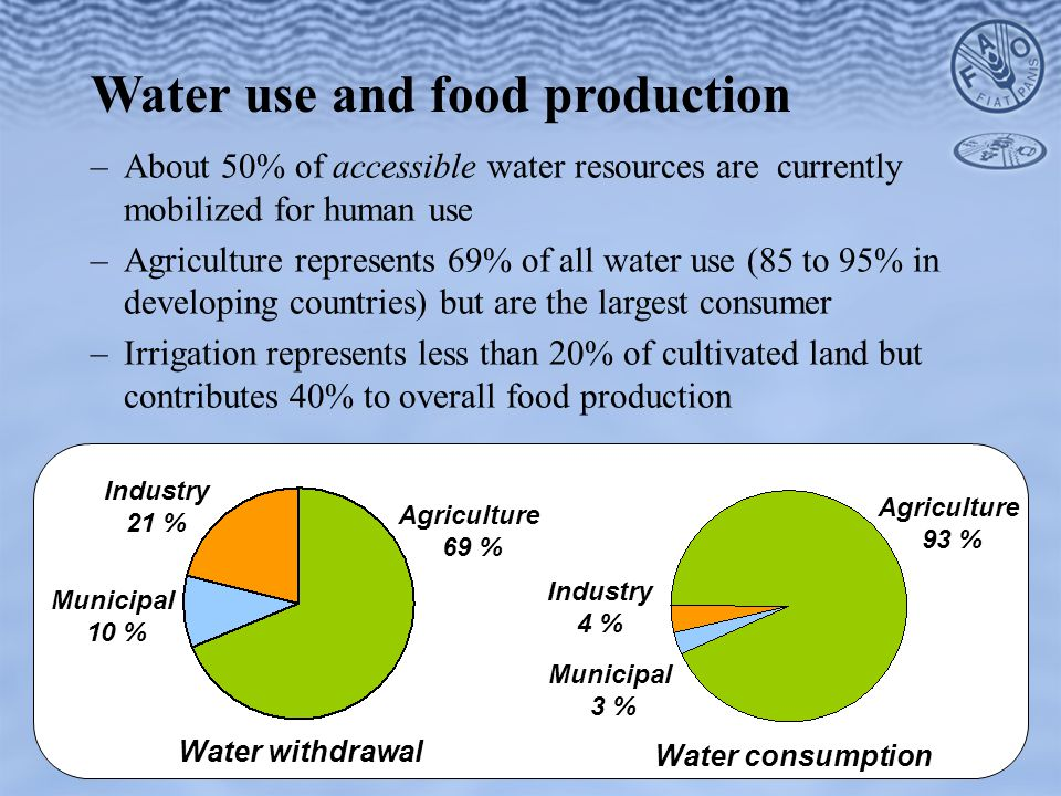 –About 50% of accessible water resources are currently mobilized for human use –Agriculture represents 69% of all water use (85 to 95% in developing countries) but are the largest consumer –Irrigation represents less than 20% of cultivated land but contributes 40% to overall food production Water use and food production Water withdrawal Agriculture 69 % Industry 21 % Municipal 10 % Municipal 3 % Agriculture 93 % Water consumption Industry 4 %