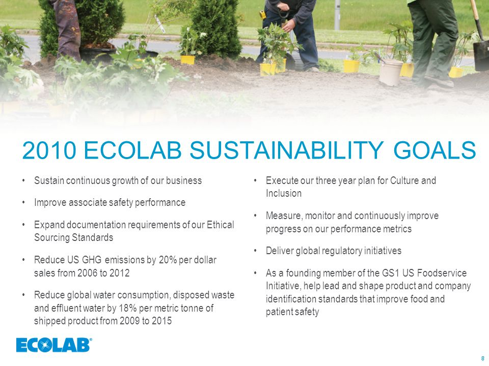 888 2010 ECOLAB SUSTAINABILITY GOALS Sustain continuous growth of our business Improve associate safety performance Expand documentation requirements