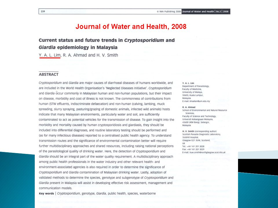Journal of Water and Health, 2008