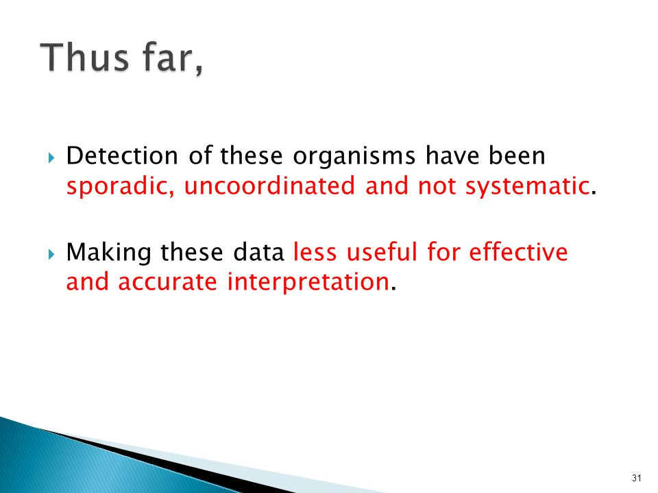  Detection of these organisms have been sporadic, uncoordinated and not systematic.