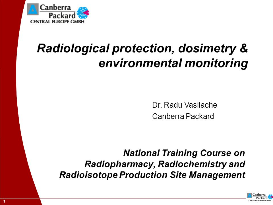 1 Radiological protection, dosimetry & environmental monitoring National Training Course on Radiopharmacy, Radiochemistry and Radioisotope Production Site Management Dr.