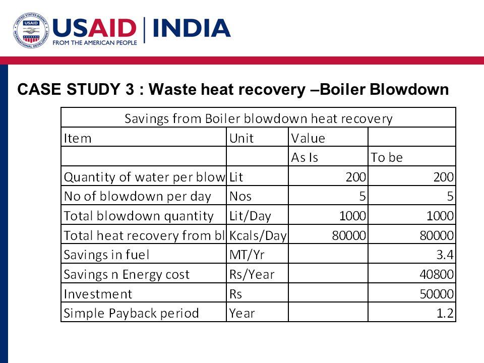 CASE STUDY 3 : Waste heat recovery –Boiler Blowdown