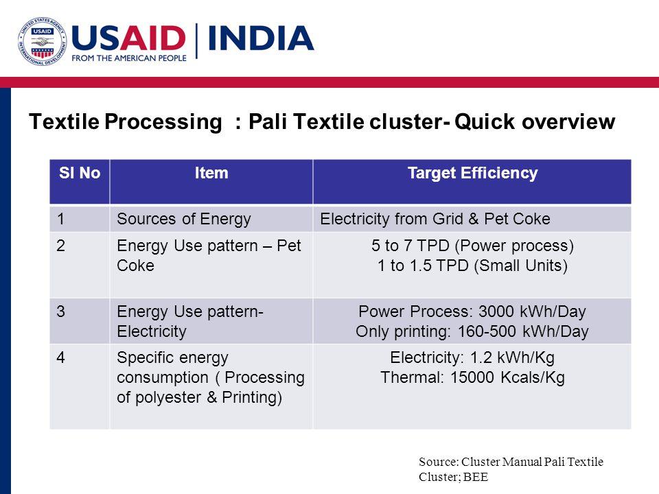 Textile Processing : Pali Textile cluster- Quick overview Source: Cluster Manual Pali Textile Cluster; BEE Sl NoItemTarget Efficiency 1Sources of Ener