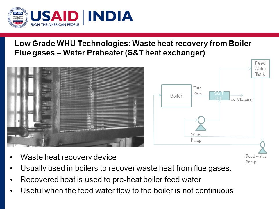 Low Grade WHU Technologies: Waste heat recovery from Boiler Flue gases – Water Preheater (S&T heat exchanger) Waste heat recovery device Usually used