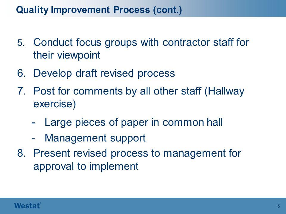 5 Quality Improvement Process (cont.) 5.