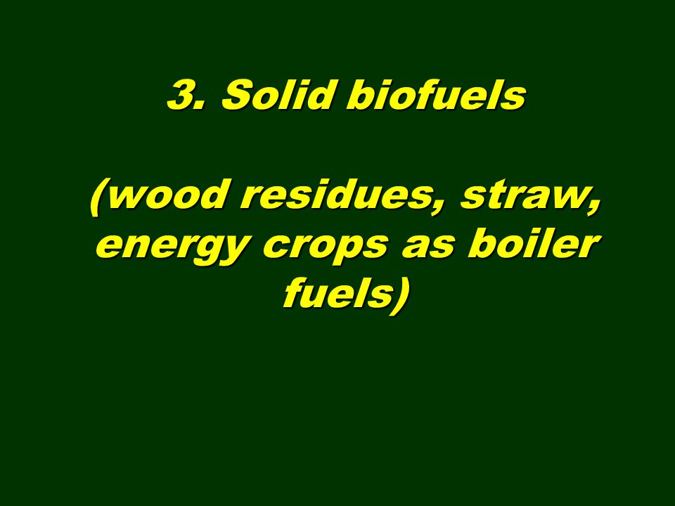 3. Solid biofuels (wood residues, straw, energy crops as boiler fuels)