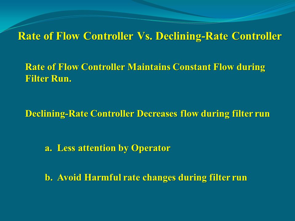 Rate of Flow Controller Vs.