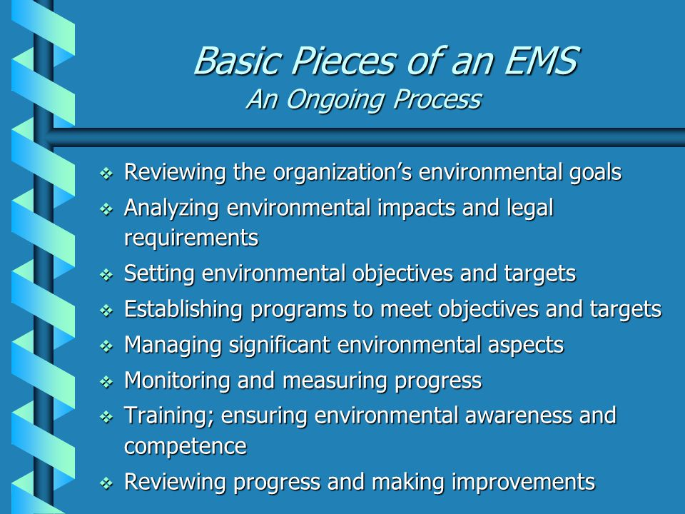 Basic Pieces of an EMS An Ongoing Process  Reviewing the organization's environmental goals  Analyzing environmental impacts and legal requirements  Setting environmental objectives and targets  Establishing programs to meet objectives and targets  Managing significant environmental aspects  Monitoring and measuring progress  Training; ensuring environmental awareness and competence  Reviewing progress and making improvements