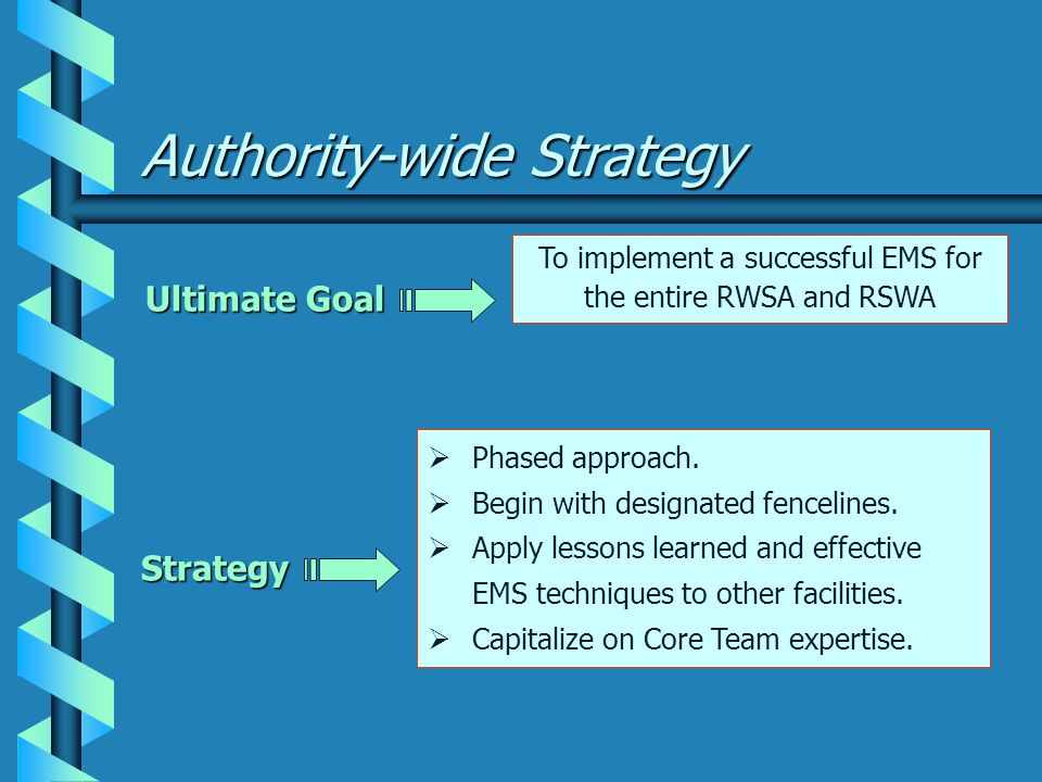 Authority-wide Strategy Ultimate Goal  Phased approach.