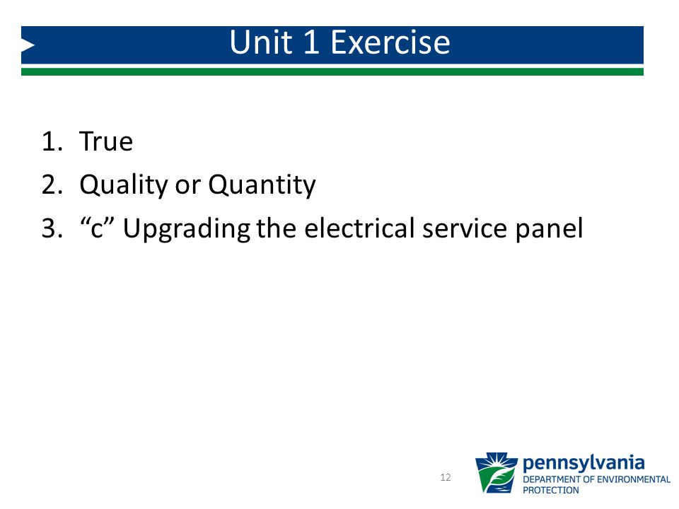1.True 2.Quality or Quantity 3. c Upgrading the electrical service panel Unit 1 Exercise 12