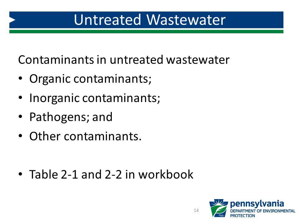 Contaminants in untreated wastewater Organic contaminants; Inorganic contaminants; Pathogens; and Other contaminants.