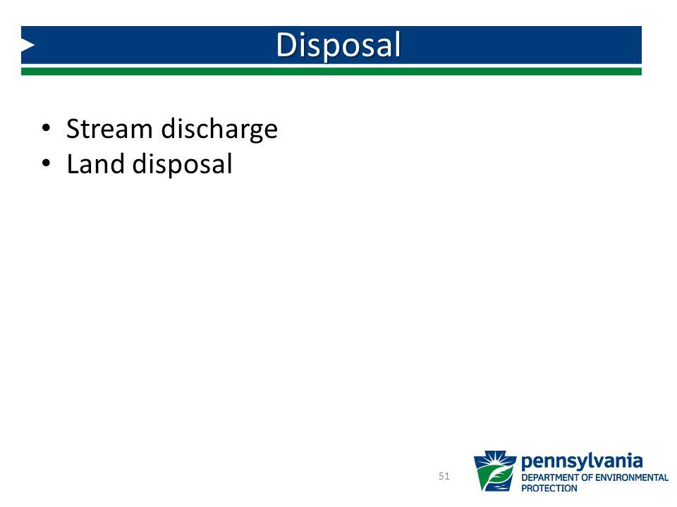 Stream discharge Land disposal Disposal 51