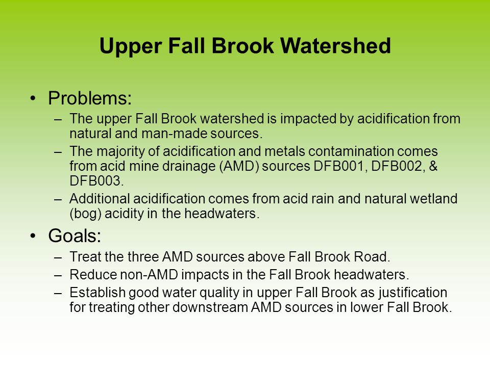 Upper Fall Brook Watershed Problems: –The upper Fall Brook watershed is impacted by acidification from natural and man-made sources.