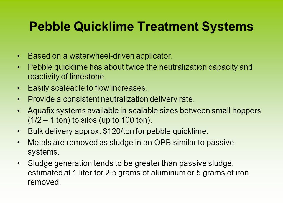 Pebble Quicklime Treatment Systems Based on a waterwheel-driven applicator.