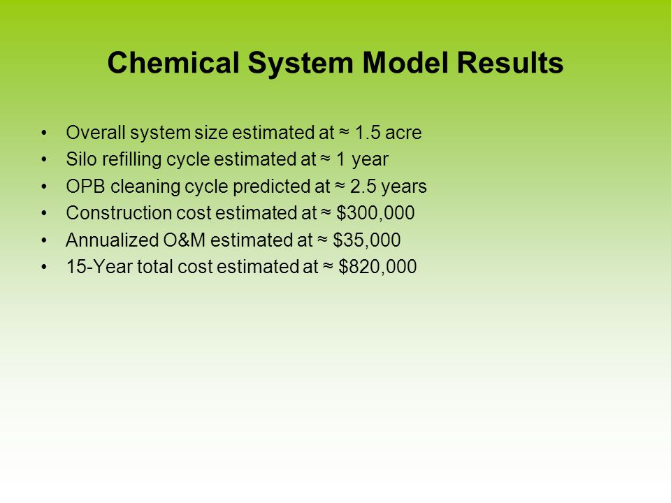 Chemical System Model Results Overall system size estimated at ≈ 1.5 acre Silo refilling cycle estimated at ≈ 1 year OPB cleaning cycle predicted at ≈ 2.5 years Construction cost estimated at ≈ $300,000 Annualized O&M estimated at ≈ $35,000 15-Year total cost estimated at ≈ $820,000