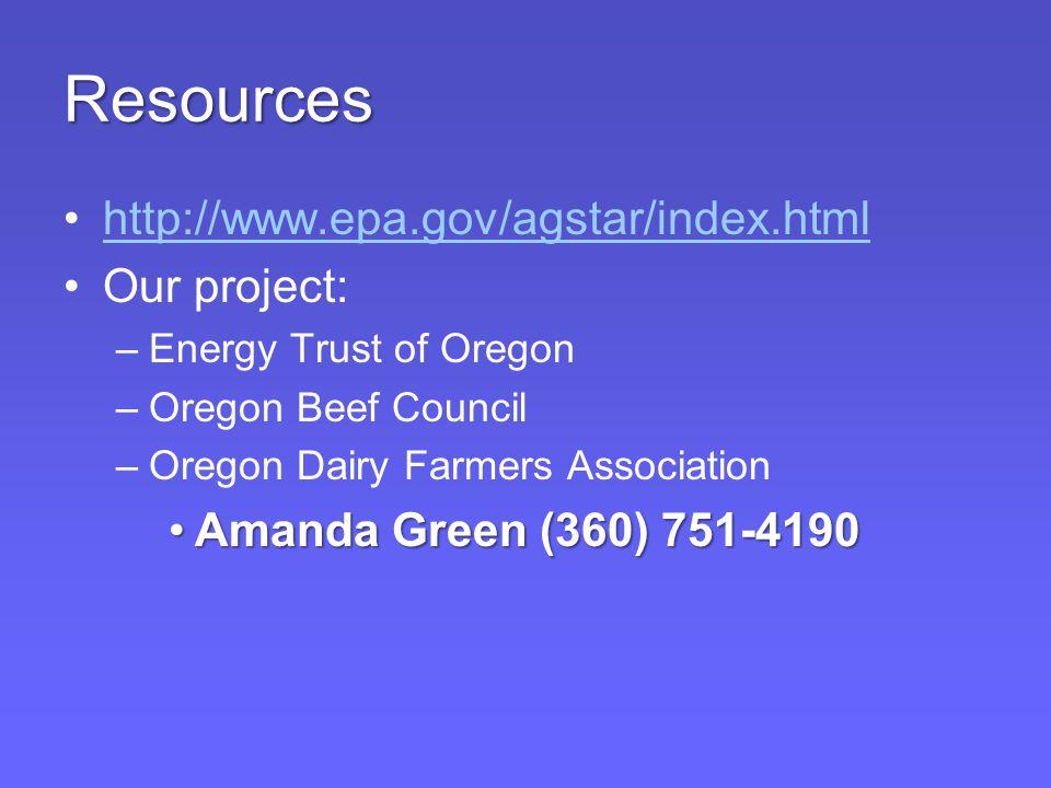 Resources http://www.epa.gov/agstar/index.html Our project: –Energy Trust of Oregon –Oregon Beef Council –Oregon Dairy Farmers Association Amanda Green (360) 751-4190Amanda Green (360) 751-4190