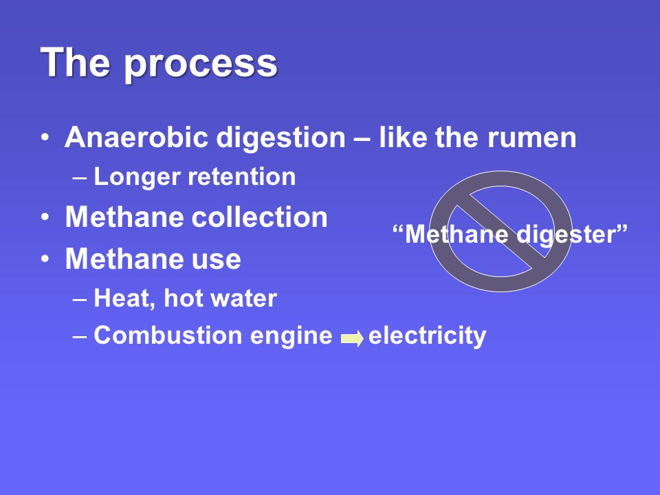 The process Anaerobic digestion – like the rumen –Longer retention Methane collection Methane use –Heat, hot water –Combustion engine electricity Methane digester