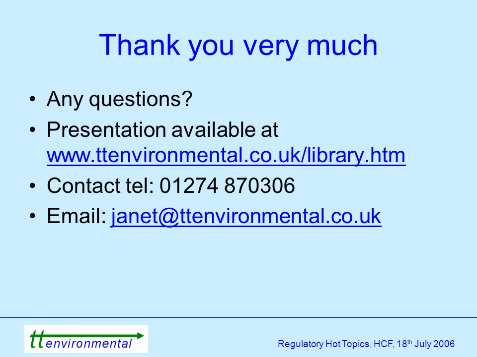 Regulatory Hot Topics, HCF, 18 th July 2006 Thank you very much Any questions.