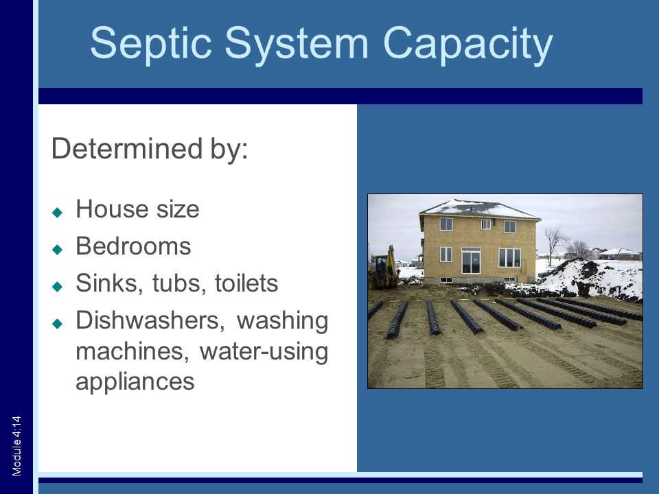 Septic System Capacity Determined by:  House size  Bedrooms  Sinks, tubs, toilets  Dishwashers, washing machines, water-using appliances Module 4:14