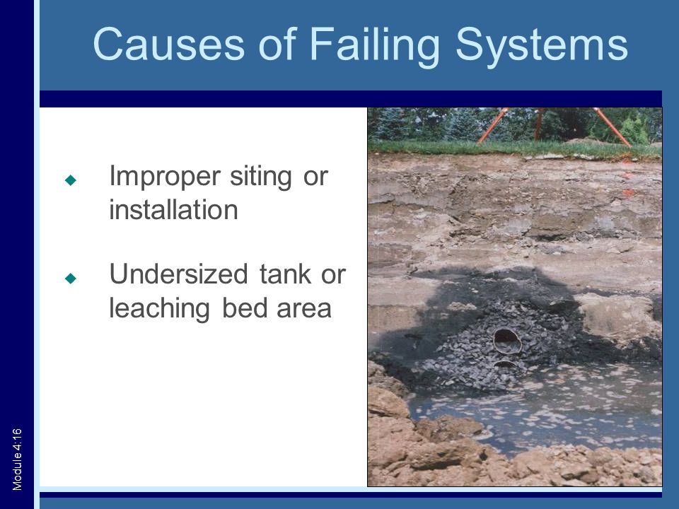 Causes of Failing Systems  Improper siting or installation  Undersized tank or leaching bed area Module 4:16