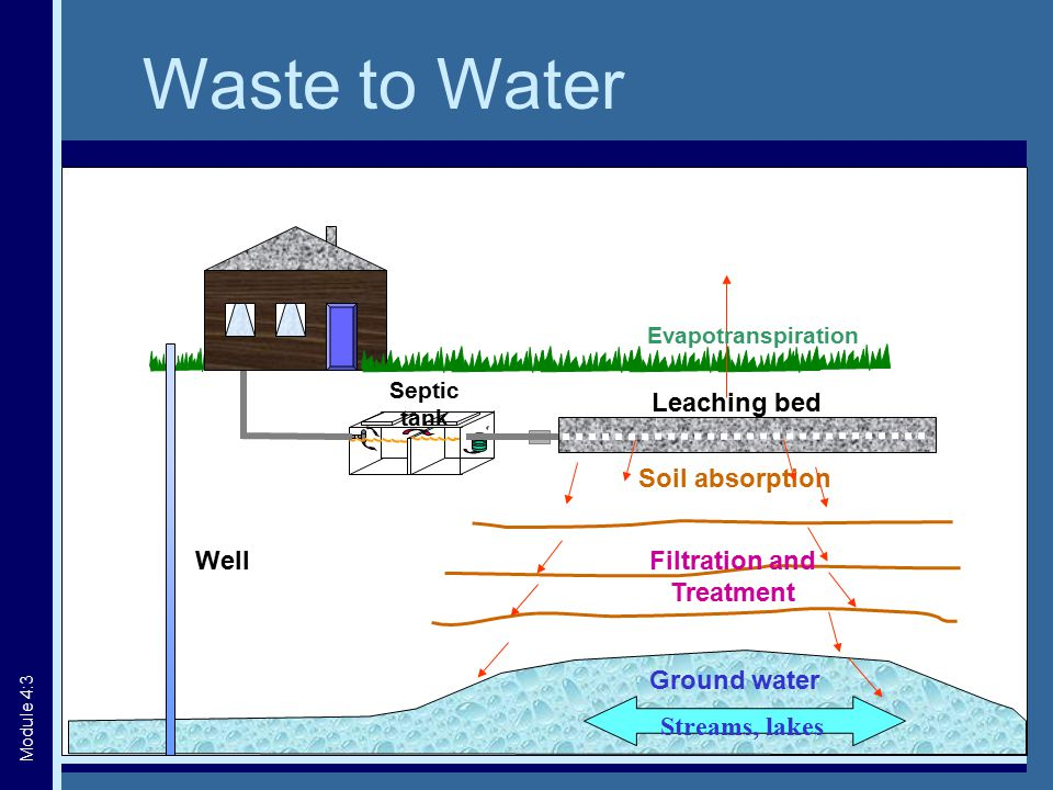Septic tank Soil absorption Ground water Filtration and Treatment Leaching bed Evapotranspiration Streams, lakes Well Waste to Water Module 4:3