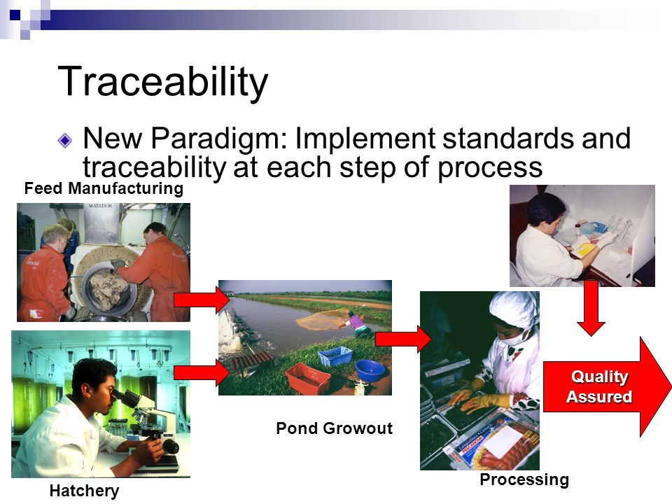 Traceability New Paradigm: Implement standards and traceability at each step of process Hatchery Feed Manufacturing Pond Growout Processing QualityAssured