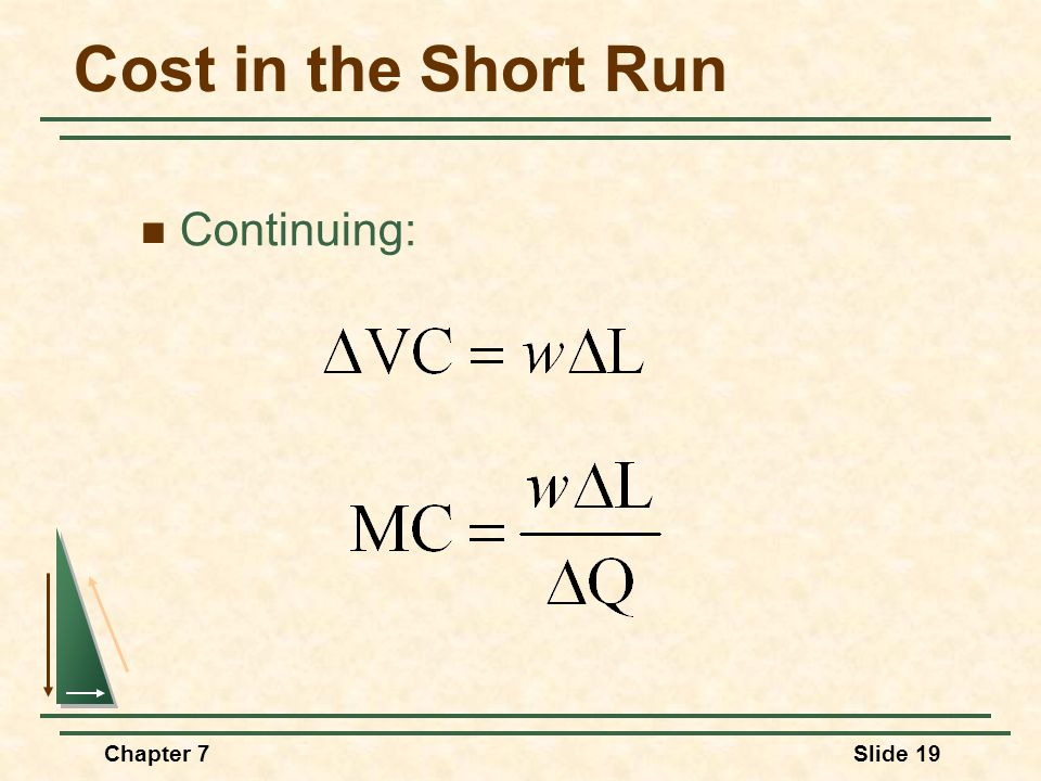 Chapter 7Slide 19 Cost in the Short Run Continuing: