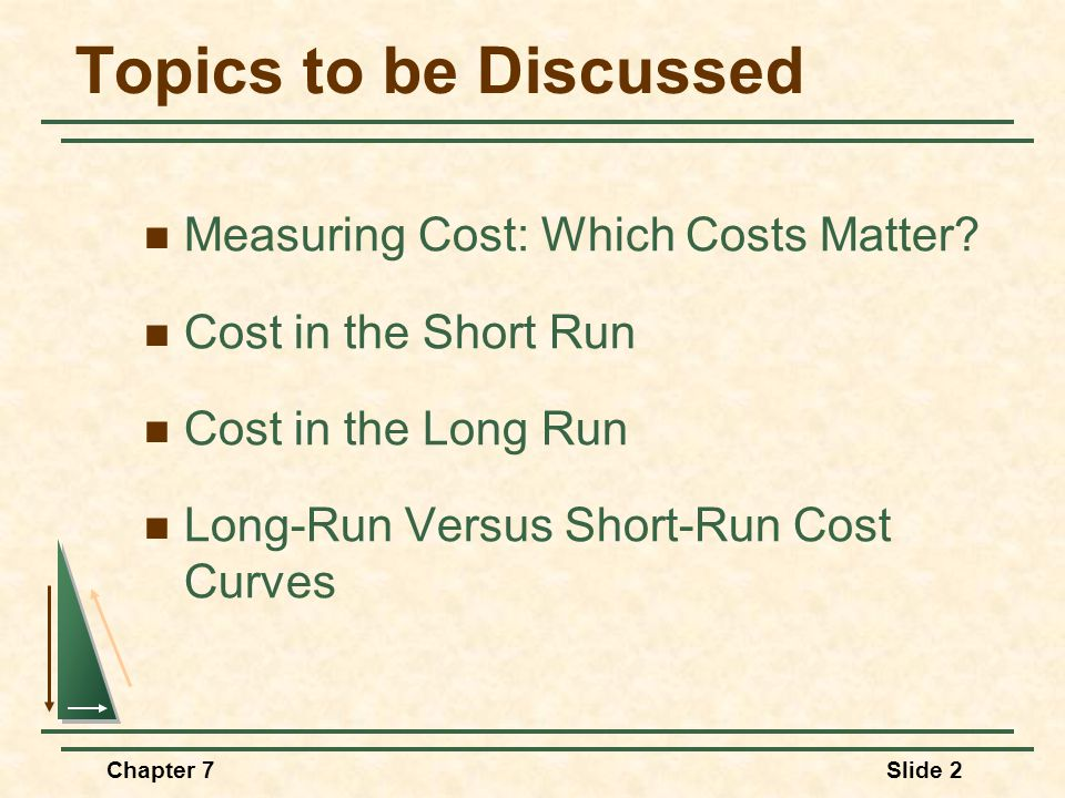 Chapter 7Slide 2 Topics to be Discussed Measuring Cost: Which Costs Matter? Cost in the Short Run Cost in the Long Run Long-Run Versus Short-Run Cost