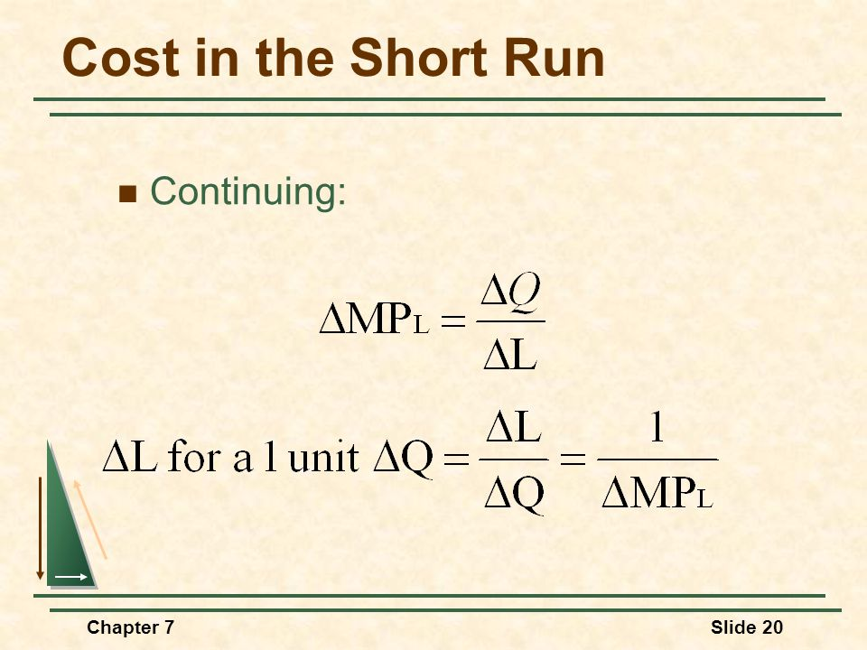 Chapter 7Slide 20 Cost in the Short Run Continuing: