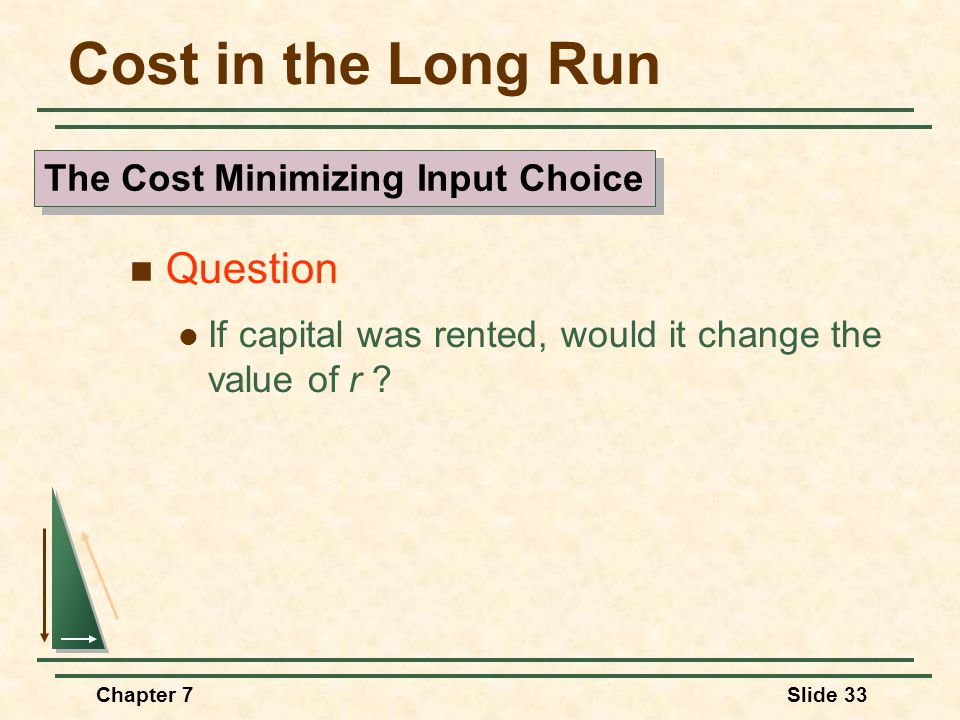 Chapter 7Slide 33 Cost in the Long Run Question If capital was rented, would it change the value of r .