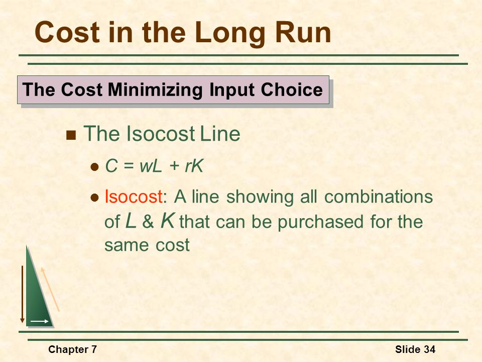 Chapter 7Slide 34 Cost in the Long Run The Isocost Line C = wL + rK Isocost: A line showing all combinations of L & K that can be purchased for the sa
