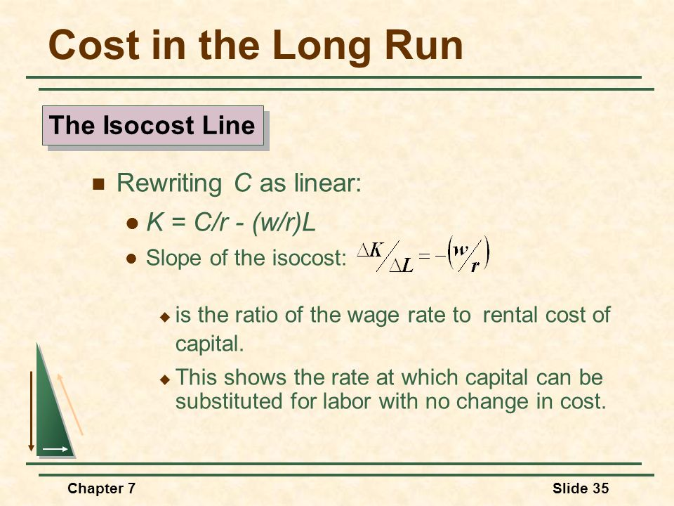 Chapter 7Slide 35 Cost in the Long Run Rewriting C as linear: K = C/r - (w/r)L Slope of the isocost:  is the ratio of the wage rate to rental cost of