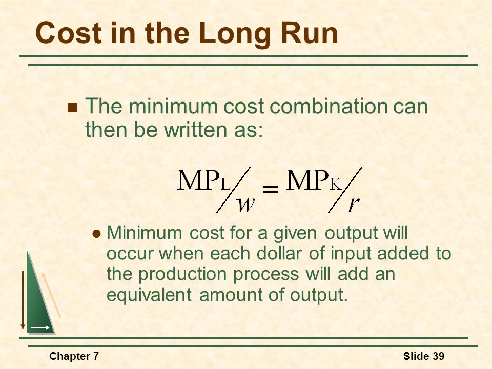 Chapter 7Slide 39 Cost in the Long Run The minimum cost combination can then be written as: Minimum cost for a given output will occur when each dolla