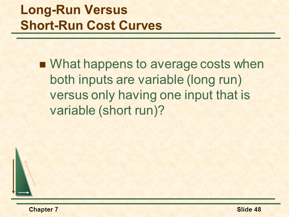 Chapter 7Slide 48 Long-Run Versus Short-Run Cost Curves What happens to average costs when both inputs are variable (long run) versus only having one