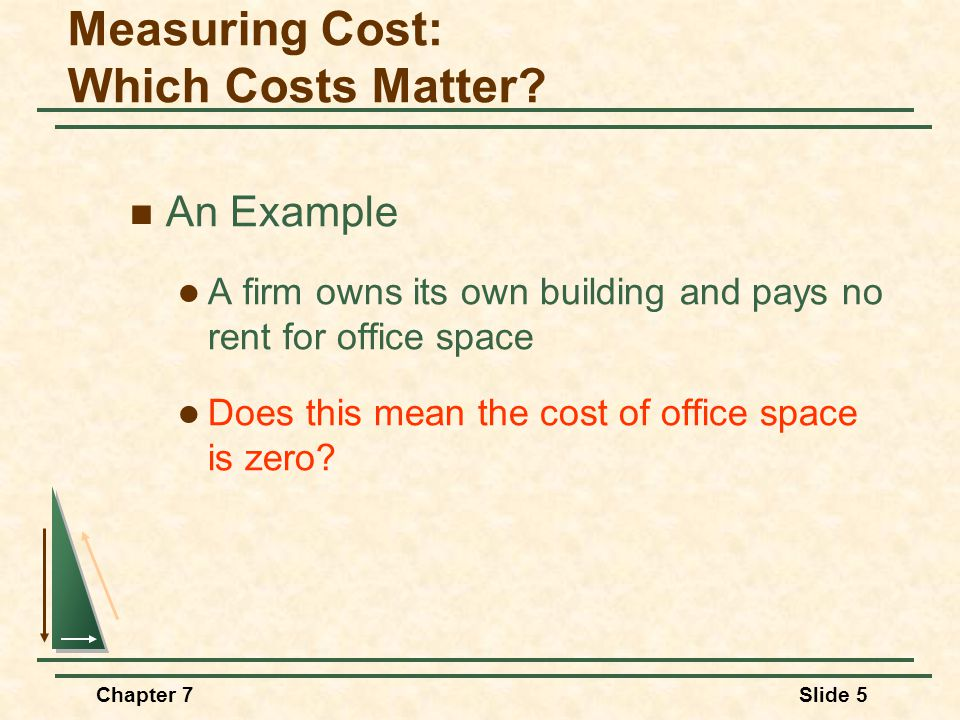 Chapter 7Slide 5 An Example A firm owns its own building and pays no rent for office space Does this mean the cost of office space is zero? Measuring