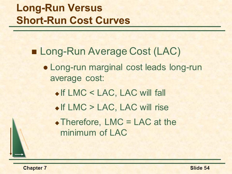 Chapter 7Slide 54 Long-Run Average Cost (LAC) Long-run marginal cost leads long-run average cost:  If LMC < LAC, LAC will fall  If LMC > LAC, LAC will rise  Therefore, LMC = LAC at the minimum of LAC Long-Run Versus Short-Run Cost Curves