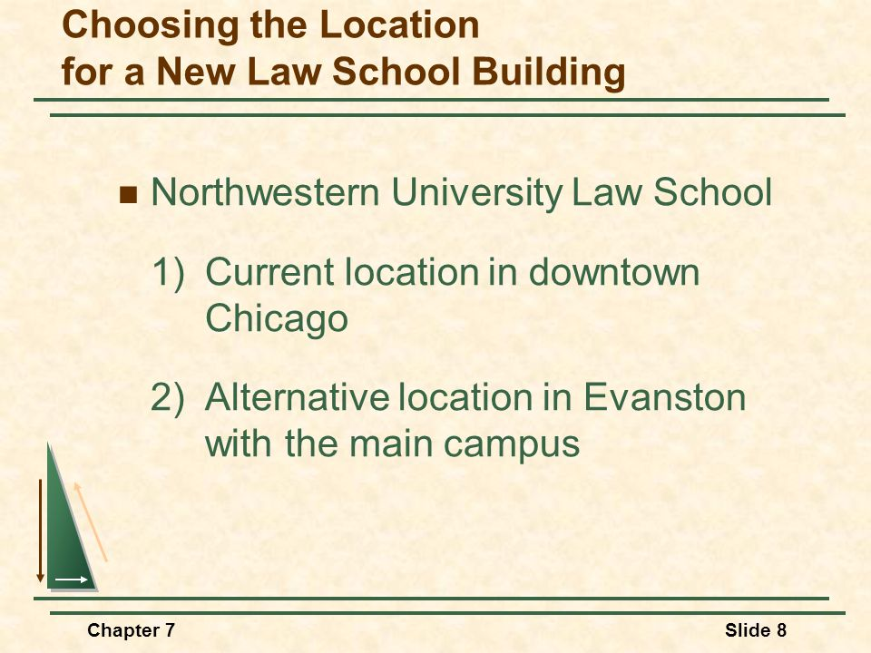 Chapter 7Slide 8 Choosing the Location for a New Law School Building Northwestern University Law School 1) Current location in downtown Chicago 2) Alternative location in Evanston with the main campus