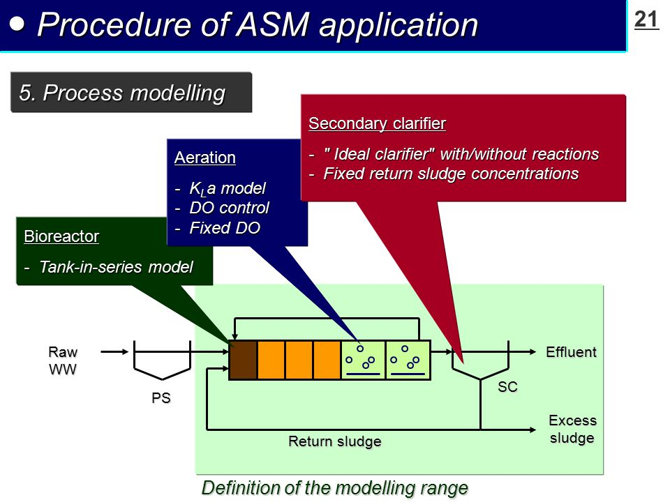 21 ● Procedure of ASM application 5. Process modelling Definition of the modelling range Return sludge Excesssludge EffluentRawWW PS SC Bioreactor - T