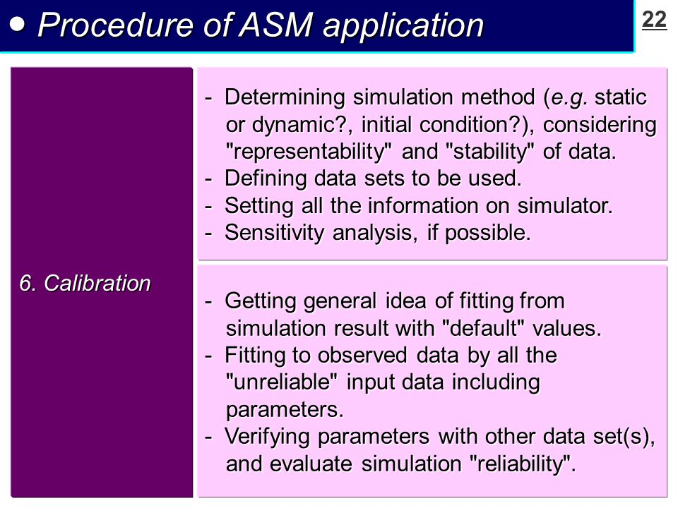 22 ● Procedure of ASM application 6.