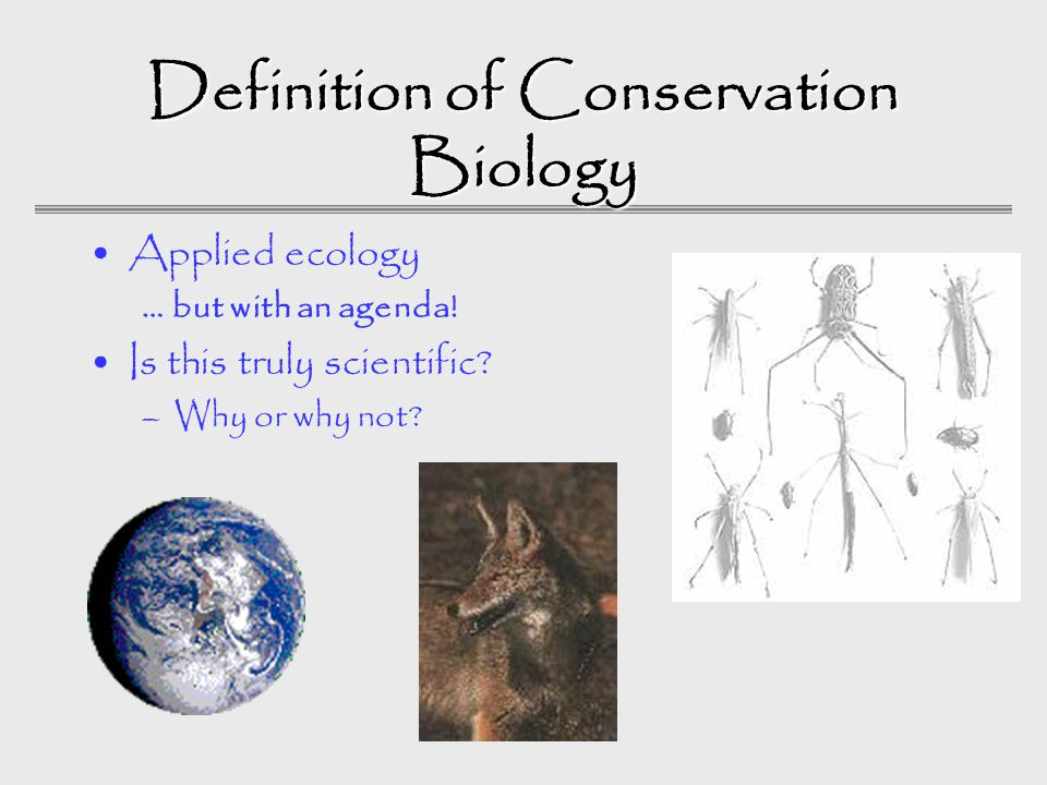 Definition of Conservation Biology Applied ecology … but with an agenda.