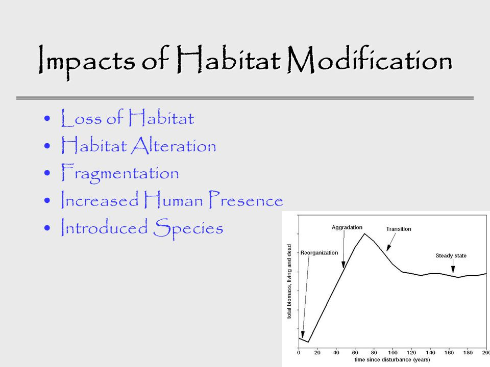 Impacts of Habitat Modification Loss of Habitat Habitat Alteration Fragmentation Increased Human Presence Introduced Species