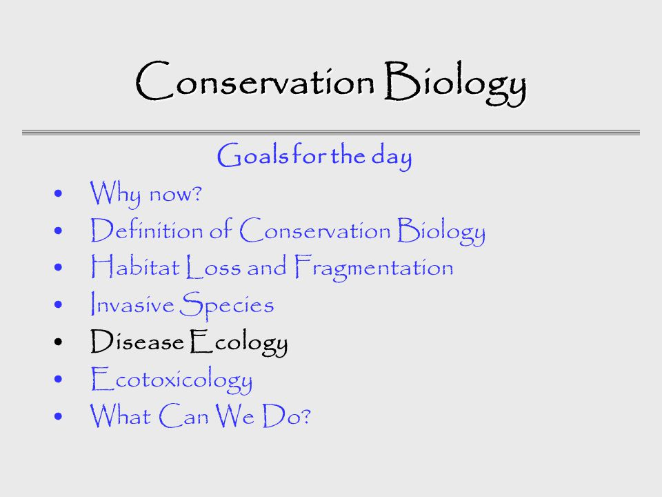 Conservation Biology Why now.