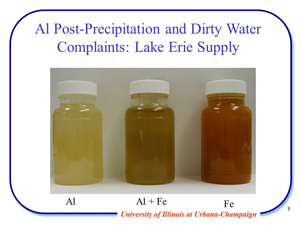 University of Illinois at Urbana-Champaign 8 Al Post-Precipitation and Dirty Water Complaints: Lake Erie Supply AlAl + Fe Fe