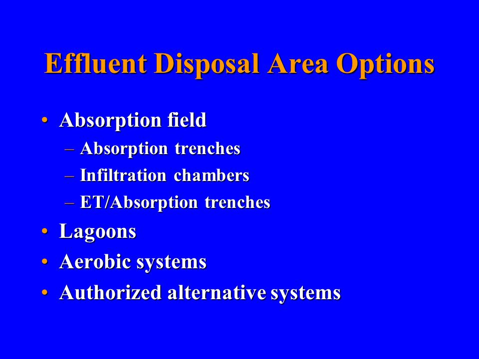 Effluent Disposal Area Options Absorption fieldAbsorption field –Absorption trenches –Infiltration chambers –ET/Absorption trenches LagoonsLagoons Aerobic systemsAerobic systems Authorized alternative systemsAuthorized alternative systems