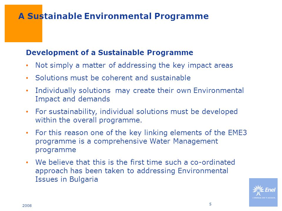 2008 6 Key Elements of the EME3 Programme Waste Management –Segregated and managed disposal of Hazardous and Non Hazardous materials –Recycling of paper, metal and batteries Emissions Reductions –Flue Gas Desulpherisation (FGD) –Electrostatic Precipitator (ESP) –Dust Mitigation measures for Ash Lagoons Discharges –Sewage and Effluent Treatment Plants Overall Water Management Programme.