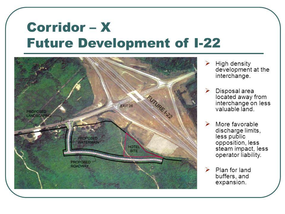 Corridor – X Future Development of I-22  High density development at the interchange.