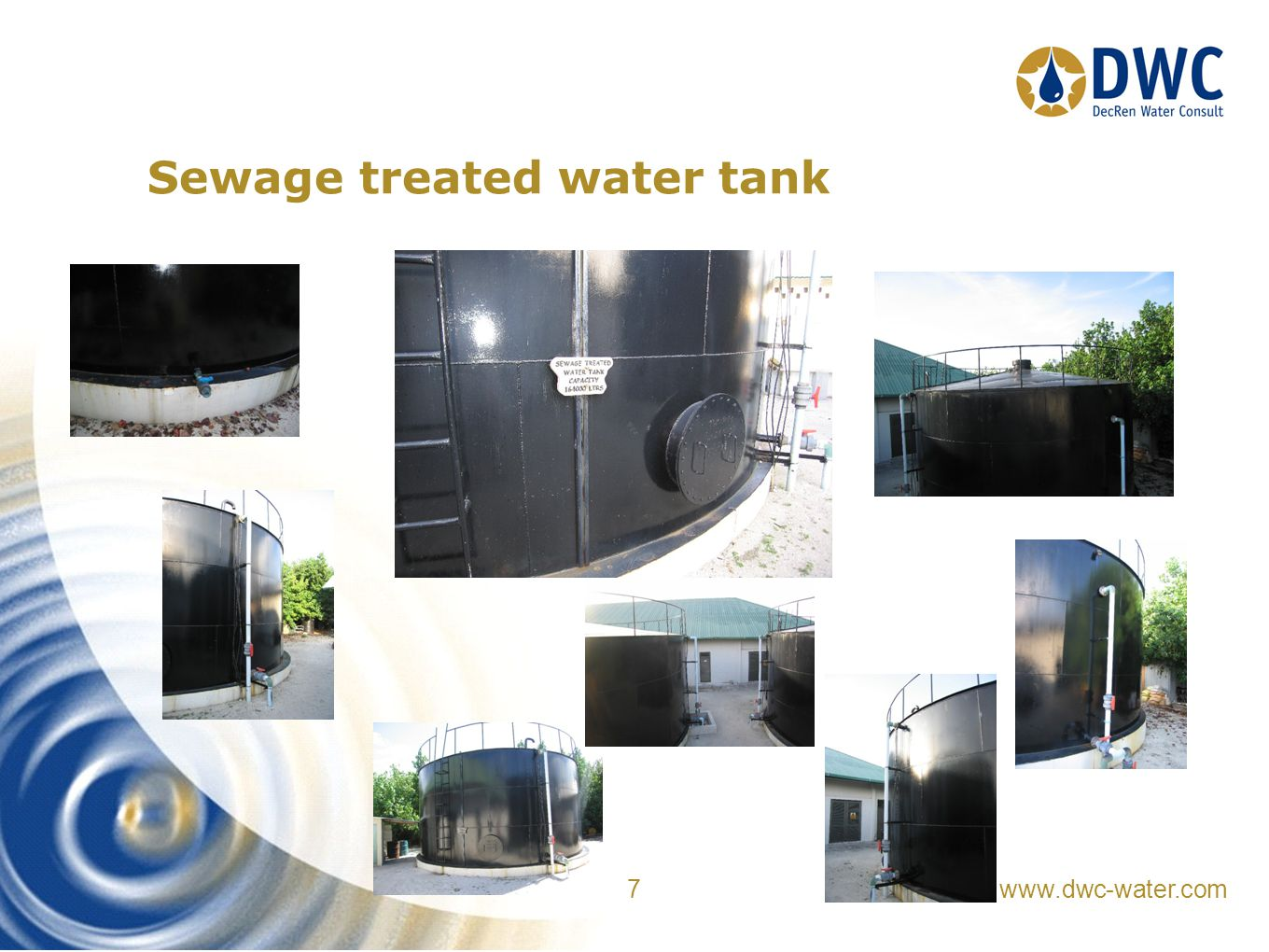 www.dwc-water.com 7 Sewage treated water tank