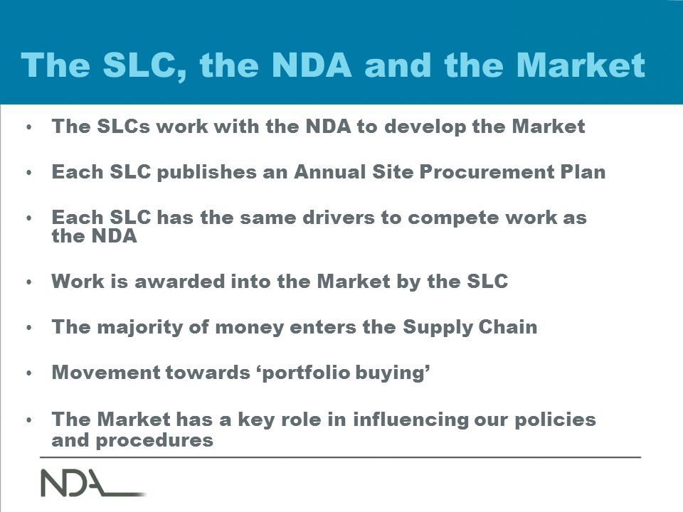 The SLC, the NDA and the Market The SLCs work with the NDA to develop the Market Each SLC publishes an Annual Site Procurement Plan Each SLC has the same drivers to compete work as the NDA Work is awarded into the Market by the SLC The majority of money enters the Supply Chain Movement towards 'portfolio buying' The Market has a key role in influencing our policies and procedures