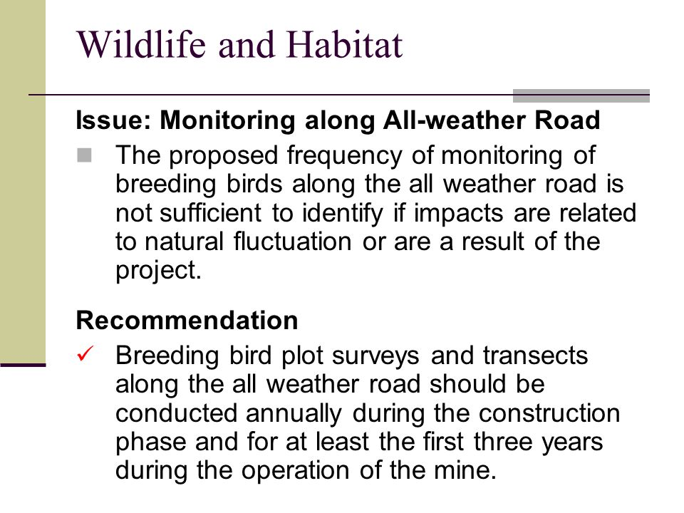 Wildlife and Habitat Issue: Monitoring along All-weather Road The proposed frequency of monitoring of breeding birds along the all weather road is not sufficient to identify if impacts are related to natural fluctuation or are a result of the project.