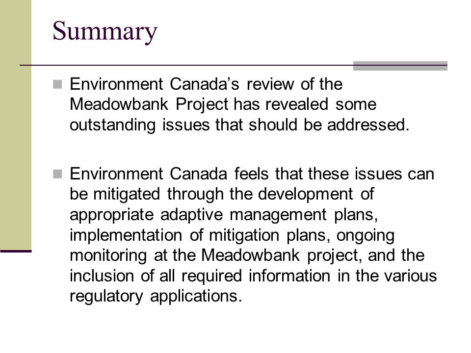 Summary Environment Canada's review of the Meadowbank Project has revealed some outstanding issues that should be addressed.
